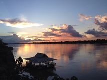 Mekong river and sunshine Royalty Free Stock Photography