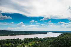 Mekong River on top view. With blue sky back ground,Ubonratchani Thailand Royalty Free Stock Image