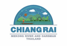 Mekong rivier en roeier van Chiang Raii, het Embleemsymbool van Thailand Stock Fotografie