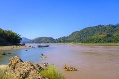 Mekong rivier in Laos Stock Afbeelding