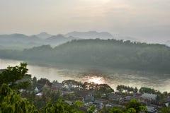 Mekong rzeczny widok od góry Phousi Luang Prabang Laos Zdjęcie Stock