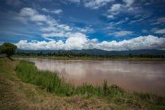 Mekong rzeka, niebo i zielona trawa, Obraz Stock