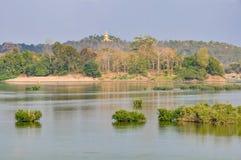 Mekong sikt i Don Kong, 4000 öar, Laos Arkivfoton