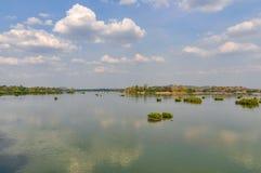 Mekong sikt i Don Kong, 4000 öar, Laos Fotografering för Bildbyråer