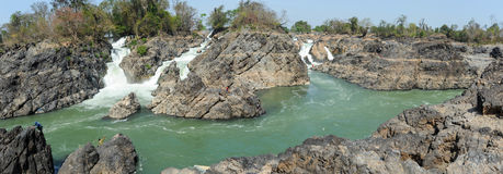 Mekonget River på den Don Khon ön på Laos Royaltyfri Fotografi