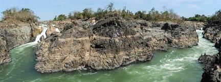 Mekonget River på den Don Khon ön på Laos Arkivbild