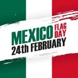 Meksyk Chorągwianego dnia wakacje sztandar 24th Luty royalty ilustracja