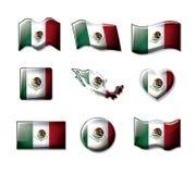 Meksyk 3D zaznacza inkasowe kolorowe sylwetki w wiele formach ilustracji