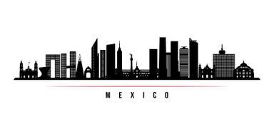Meksyk linia horyzontu horyzontalny sztandar ilustracja wektor