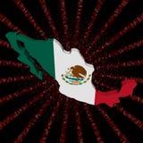 Meksyk mapy flaga na czerwonej hex kodu wybuchu ilustraci ilustracja wektor