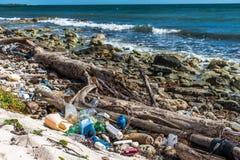 Meksyk oceanu zanieczyszczenia Problemowa plastikowa ściółka Zdjęcia Royalty Free