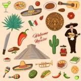 Meksyk symbole Set ikony Meksyk i punkty zwrotni: sambrero, teq ilustracja wektor