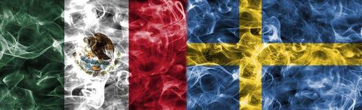 Meksyk vs Szwecja dymu flaga, grupowy F, futbolowy puchar świata 2018, M ilustracja wektor