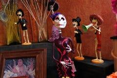 Meksykańscy czaszka koścowie kobieta i muzycy, Dias De Los Muertos śmiertelny nieboszczyk dzień zdjęcia stock