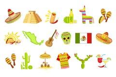 Meksykańscy kultura symbole Ustawiający ilustracja wektor