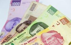 Meksykańscy rachunki różne wartości obrazy stock