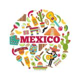 meksykańscy symbole Okręgu kształt z różnorodnymi barwionymi obrazkami meksykańskie ikony ilustracja wektor