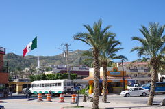 Meksykańska flaga w Cabo San Lucas Zdjęcie Stock