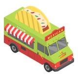 Meksykańska jedzenie ciężarówki ikona, isometric styl royalty ilustracja
