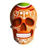Meksykańska kolorowa czaszki ikona, kreskówka styl ilustracja wektor