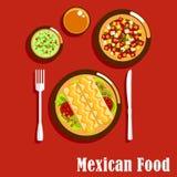 Meksykańska kuchnia z enchiladas i kumberlandami Zdjęcia Royalty Free
