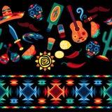 Meksykański bezszwowy wzór z ikonami w miejscowym ilustracja wektor
