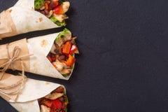 Meksykański burrito z kurczakiem fotografia stock