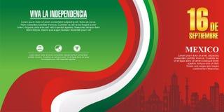 Meksykański dnia niepodległości tło z eleganckim falowym projektem ilustracji