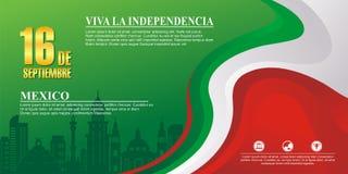 Meksykański dnia niepodległości tło z eleganckim falowym projektem ilustracja wektor