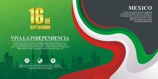 Meksykański dnia niepodległości tło z eleganckim falowym projektem royalty ilustracja