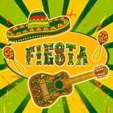 Meksykański fiesta przyjęcia zaproszenie z marakasami, sombrero i gitarą, Ręka rysujący wektorowy ilustracyjny plakat