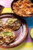 Meksykański jedzenie: tinga tostadas fotografia stock