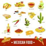 Meksykański Karmowy ikona set ilustracja wektor