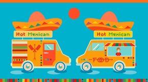 Meksykański karmowy ikony jedzenia samochód Gorący fasta food symbol, auto restauracja, mobilna kuchnia, gorący fastfood, korzenn Zdjęcie Royalty Free