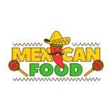 Meksykański karmowy logo dla menu chłopiec kreskówka zawodzący ilustracyjny mały wektor pojedynczy białe tło Meksyk pieprz Fotografia Stock