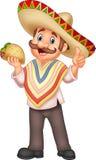 Meksykański mężczyzna mienia taco ilustracja wektor