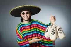 Meksykański mężczyzna z pieniędzy workami Fotografia Stock