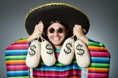 Meksykański mężczyzna z pieniędzy workami Obraz Stock