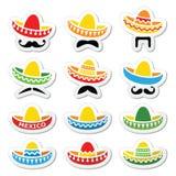 Meksykański sombrero kapelusz z wąsa lub wąsy ikonami Zdjęcie Royalty Free