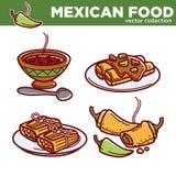 Meksykańskich karmowych kuchni tradycyjnych naczyń wektorowe ikony dla restauracyjnego menu ilustracja wektor