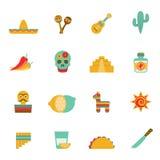 Meksykańskich kultura symboli/lów płaskie ikony ustawiać royalty ilustracja