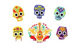 Meksykańskie cukrowe czaszki ustawiają, dzień nieboszczyk, Meksykańska kulturalna symbolu wektoru ilustracja ilustracja wektor