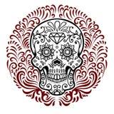 Meksykańskie cukrowe czaszki z kółkowym kwiecistym deseniowym tłem dzień nie żyje Projektuje element dla plakata, kartka z pozdro Obrazy Stock