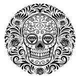 Meksykańskie cukrowe czaszki z kwiecistym deseniowym tłem dzień nie żyje Projektuje element dla plakata, kartka z pozdrowieniami, Zdjęcia Royalty Free