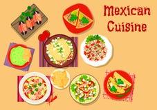 Meksykańskiej kuchni sałatki i przekąski korzenna ikona ilustracja wektor