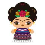 Meksykańskiej lali wektorowa ilustracja, Meksyk tradycyjnego stylu lala ilustracja wektor