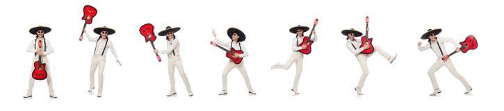 Meksyka?ski gitara gracz odizolowywaj?cy na bielu zdjęcia royalty free