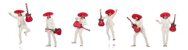 Meksyka?ski gitara gracz odizolowywaj?cy na bielu obraz royalty free