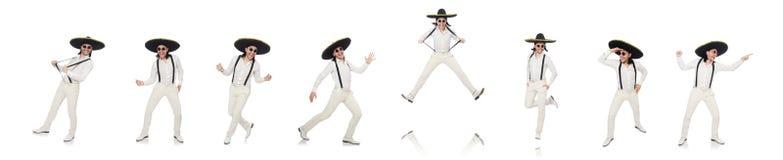 Meksyka?ski m??czyzna jest ubranym sombrero odizolowywaj?cego na bielu zdjęcia stock