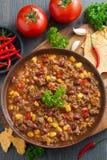 Meksykański naczynie Chili con carne, odgórny widok Obrazy Royalty Free